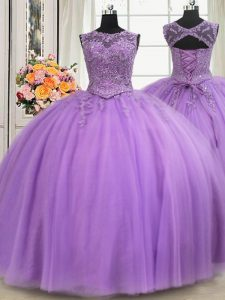 Sophisticated See Through Floor Length Ball Gowns Sleeveless Lavender Sweet 16 Quinceanera Dress Lace Up