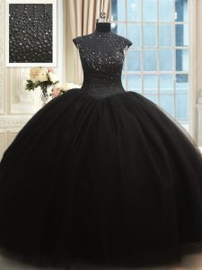 High Neck Black Cap Sleeves Tulle Zipper Quinceanera Dresses for Military Ball and Sweet 16 and Quinceanera