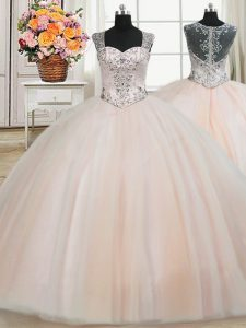 Affordable See Through Back Zipper Up Peach Quinceanera Gown Military Ball and Sweet 16 and Quinceanera and For with Bea