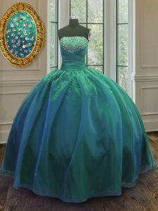 Teal Lace Up Ball Gown Prom Dress Sequins Sleeveless Floor Length