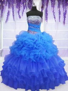 Exceptional Sleeveless Lace Up Floor Length Beading and Ruffled Layers and Pick Ups 15th Birthday Dress