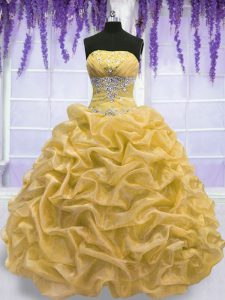 On Sale Strapless Sleeveless Lace Up Quinceanera Dress Gold Organza