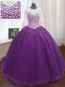 Wonderful Purple Ball Gowns Organza Scoop Long Sleeves Beading and Sequins Lace Up Quinceanera Dress Sweep Train