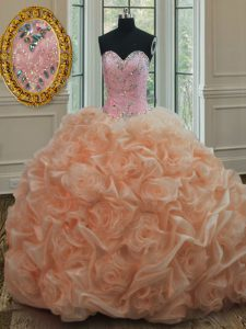 Peach Ball Gowns Organza Sweetheart Sleeveless Beading and Pick Ups Lace Up Ball Gown Prom Dress Sweep Train