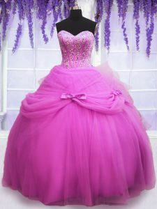 Best Selling Sequins Lilac Sleeveless Tulle Lace Up Ball Gown Prom Dress for Military Ball and Sweet 16 and Quinceanera