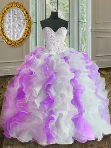 Suitable White And Purple Sleeveless Organza Lace Up Sweet 16 Dresses for Military Ball and Sweet 16 and Quinceanera
