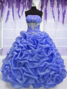 Hot Selling Blue Sleeveless Beading and Pick Ups Floor Length 15 Quinceanera Dress