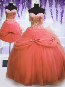 Three Piece Watermelon Red Ball Gowns Sweetheart Sleeveless Tulle Floor Length Lace Up Beading and Bowknot Sweet 16 Dres
