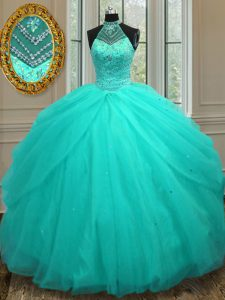 Great Halter Top Sleeveless Lace Up Floor Length Beading 15 Quinceanera Dress