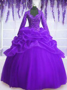 Purple Organza Zipper V-neck Long Sleeves Floor Length Sweet 16 Quinceanera Dress Sequins and Pick Ups