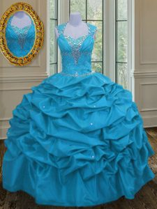 Straps Aqua Blue Taffeta Lace Up 15th Birthday Dress Sleeveless Floor Length Beading and Pick Ups