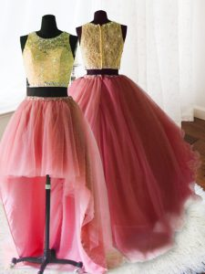 Top Selling Three Piece Watermelon Red Quinceanera Dresses Military Ball and Sweet 16 and Quinceanera and For with Beadi