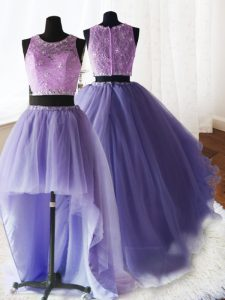 High Class Three Piece Scoop Organza and Tulle and Lace Sleeveless With Train Quinceanera Gown Brush Train and Beading a