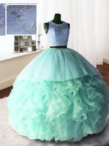 Super Apple Green Scoop Neckline Beading and Lace and Ruffles Ball Gown Prom Dress Sleeveless Zipper