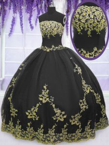 Sumptuous Tulle Sleeveless Floor Length Sweet 16 Quinceanera Dress and Appliques