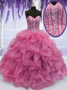 Floor Length Rose Pink Ball Gown Prom Dress Sweetheart Sleeveless Lace Up