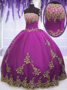 Sleeveless Floor Length Appliques Zipper Quinceanera Dress with Fuchsia