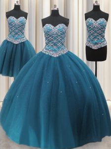 Sexy Three Piece Teal Tulle Lace Up Sweetheart Sleeveless Floor Length Sweet 16 Dresses Beading and Ruffles