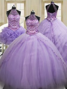 Three Piece Sequins Brush Train Ball Gowns Sweet 16 Dresses Lavender Halter Top Tulle Sleeveless Lace Up