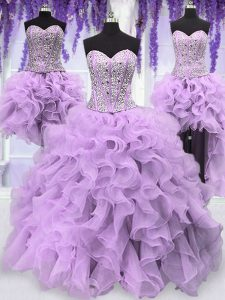 Four Piece Lavender Quinceanera Dress Military Ball and Sweet 16 and Quinceanera and For with Ruffles and Sequins Sweeth