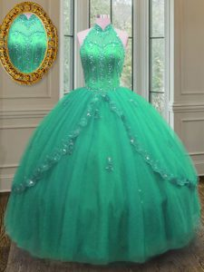 Pretty Floor Length Turquoise Sweet 16 Dress Tulle Sleeveless Beading and Appliques