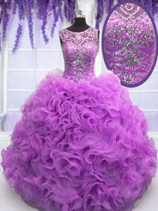 Scoop Lilac Lace Up Sweet 16 Quinceanera Dress Beading and Ruffles Sleeveless Floor Length