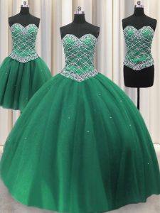 Three Piece Green Ball Gowns Beading and Ruffles 15th Birthday Dress Lace Up Tulle Sleeveless Floor Length