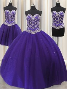 Hot Selling Three Piece Sweetheart Sleeveless Tulle 15 Quinceanera Dress Beading and Sequins Lace Up