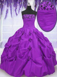 Eggplant Purple Lace Up Strapless Embroidery and Pick Ups Vestidos de Quinceanera Taffeta Sleeveless