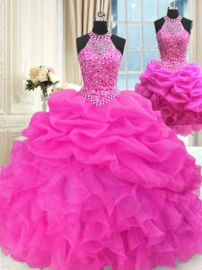 Three Piece Hot Pink High-neck Lace Up Beading and Pick Ups Quinceanera Dress Sleeveless