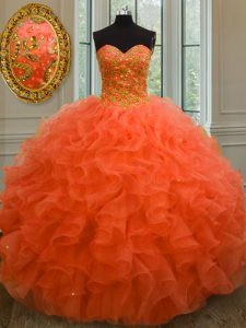 Organza Sweetheart Sleeveless Lace Up Beading and Ruffles 15 Quinceanera Dress in Orange Red