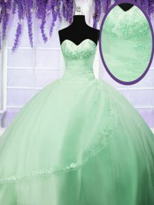 Sleeveless Floor Length Appliques Lace Up Ball Gown Prom Dress with