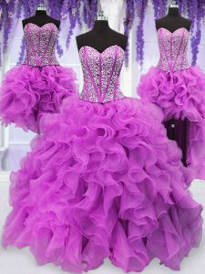 Four Piece Sequins Floor Length Ball Gowns Sleeveless Fuchsia 15 Quinceanera Dress Lace Up