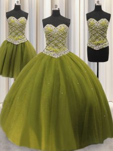 Three Piece Sleeveless Lace Up Floor Length Beading and Sequins Quinceanera Gown
