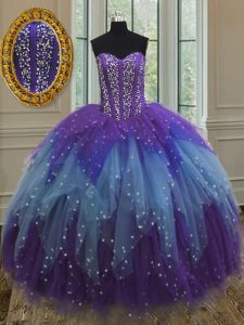 Multi-color Sweetheart Lace Up Beading and Ruffles and Sequins 15th Birthday Dress Sleeveless