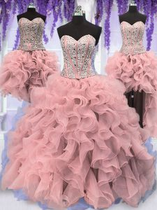 Four Piece Sequins Pink Sleeveless Organza Lace Up Quince Ball Gowns for Military Ball and Sweet 16 and Quinceanera