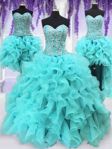 Four Piece Floor Length Lace Up Quinceanera Gown Aqua Blue for Military Ball and Sweet 16 and Quinceanera with Ruffles a