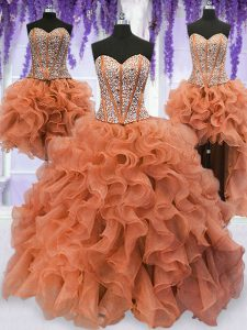 Latest Four Piece Sleeveless Organza Floor Length Lace Up 15th Birthday Dress in Orange with Beading and Ruffles