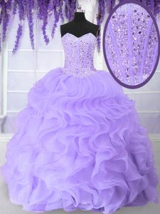Inexpensive Floor Length Lavender Quince Ball Gowns Sweetheart Sleeveless Lace Up