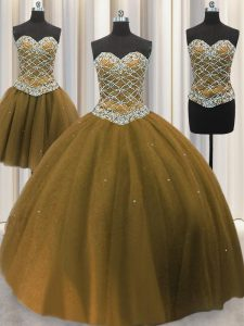 Three Piece Brown Sleeveless Floor Length Beading and Sequins Lace Up Sweet 16 Dress