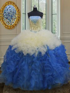 Beading and Ruffles Quince Ball Gowns Blue And White Lace Up Sleeveless Floor Length