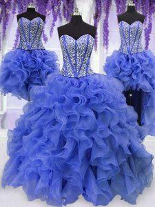 Four Piece Floor Length Royal Blue Vestidos de Quinceanera Organza Sleeveless Ruffles and Sequins