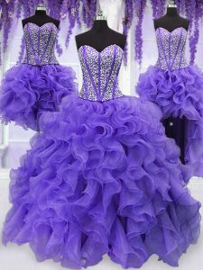 Superior Four Piece Lavender Sleeveless Floor Length Embroidery and Ruffles and Ruffled Layers and Sashes ribbons Lace U