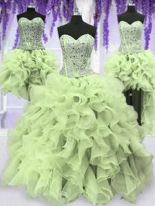 Top Selling Four Piece Yellow Green Sweetheart Neckline Ruffles and Sequins Sweet 16 Dress Sleeveless Lace Up