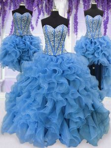Four Piece Floor Length Blue Quince Ball Gowns Organza Sleeveless Ruffles and Sequins