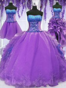 Four Piece Lavender Sweet 16 Dresses Military Ball and Sweet 16 and Quinceanera and For with Embroidery and Ruffles Stra