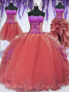 Inexpensive Four Piece Strapless Sleeveless 15 Quinceanera Dress Floor Length Embroidery and Ruffles Watermelon Red Orga