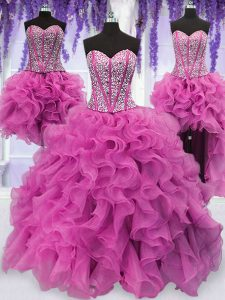 Four Piece Sequins Floor Length Ball Gowns Sleeveless Lilac Quinceanera Dress Lace Up