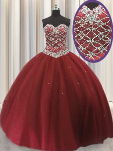 High End Red Ball Gowns Tulle Sweetheart Sleeveless Beading and Sequins Floor Length Lace Up Sweet 16 Quinceanera Dress