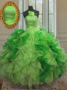 Elegant Organza Sleeveless Floor Length 15th Birthday Dress and Beading and Ruffles